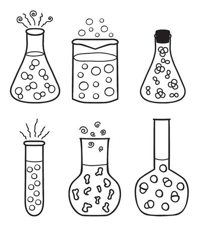 Satz von chemischen Reagenzgläsern - Hand gezeichnete Illustration