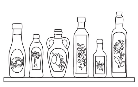 Set of natural oils in bottles - hand drawn illustration Vector