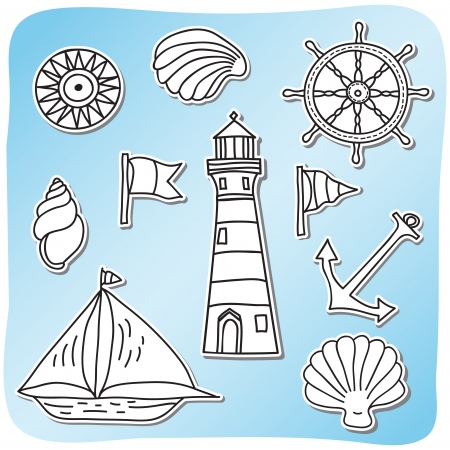 Set of sea icons - sticker style - hand drawn illustration Vector