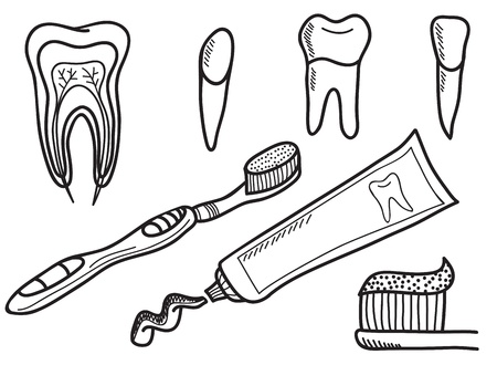 pasta dental: Set de iconos de cepillarse los dientes - dibujado a mano ilustración