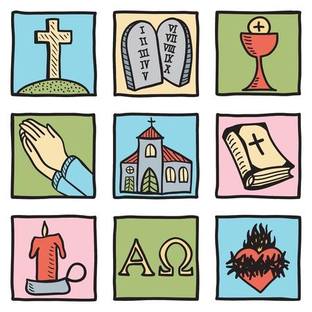 cruz de jesus: Conjunto de símbolos de cristo - ilustración dibujados a mano Vectores