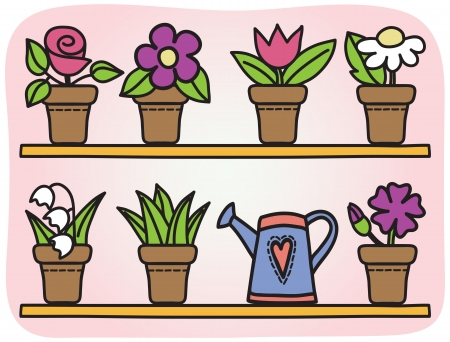 tulips in green grass: Illustration of flowers in pots - hand drawn picture