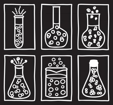 material de vidrio: Juego de tubos de ensayo químicos - ilustración dibujados a mano