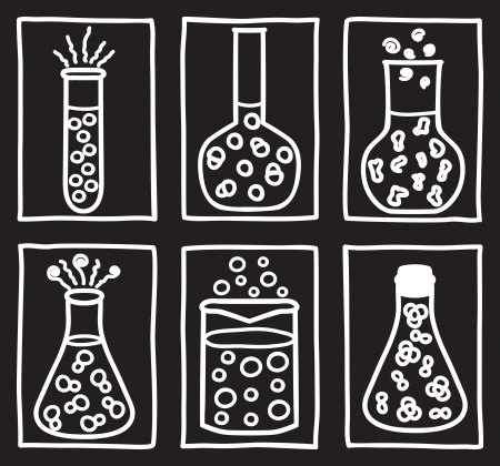 Set of chemical test tubes - hand drawn illustration Stock Vector - 14568494