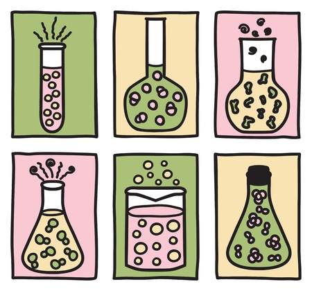 flask: Set of chemical test tubes - hand drawn illustration
