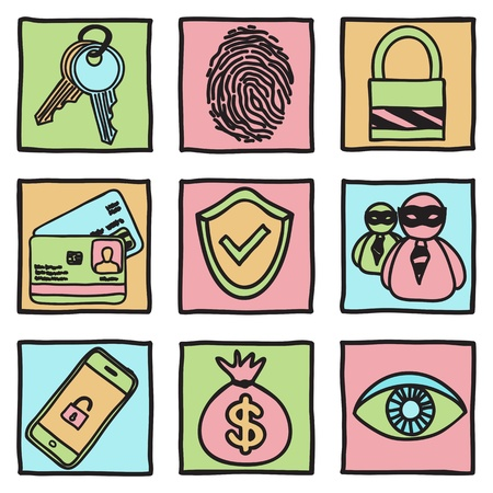 Security and hacker icons - hand drawn illustration Vector