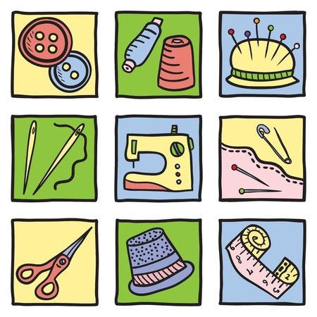 재료: 바느질 재료와 도구 - 손으로 그린 그림 일러스트