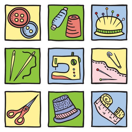 hilo rojo: Cosa de coser y herramientas - dibujado a mano ilustraci�n