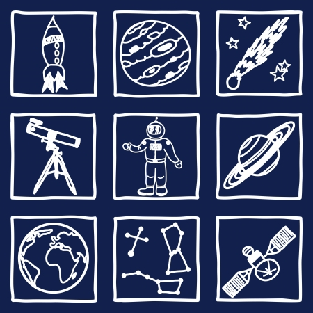 Illustration of space and astronomy icons - hand drawn pictures Vector