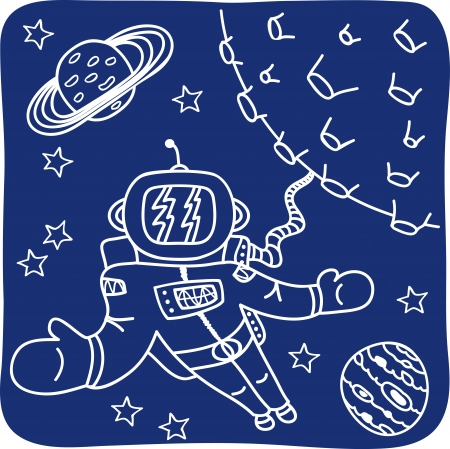 Drawing of an astronaut and planets - illustration Vector