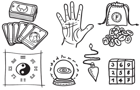 occult: various types of fortune telling - hand drawn illustration Illustration