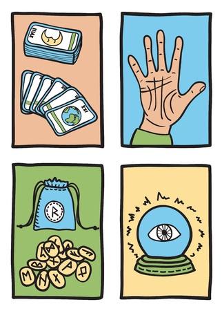 psychic: varios tipos de adivinación - dibujados a mano ilustración