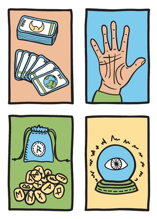 psychic reading: various types of fortune telling - hand drawn illustration Illustration