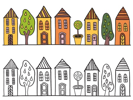 Houses in small town pattern - hand drawn illustration Vector