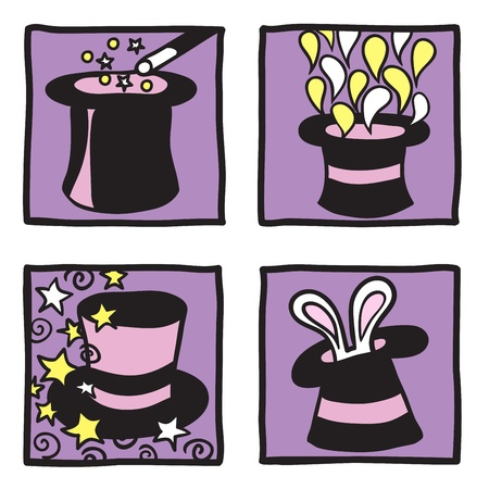 Magic hats collection - hand drawn illustrations Stock Vector - 14698300