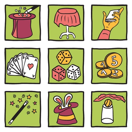 magical equipment: Collection of magic tricks - hand drawn illustration