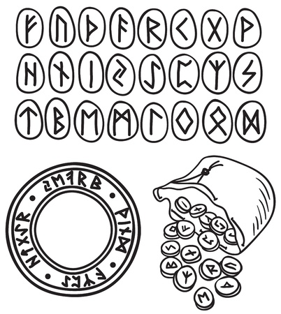 mythologie: Hand gezeichnete Illustration von alten Runen und Symbolen