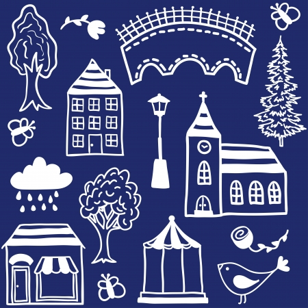 Small town design elements  - hand drawn illustration Vector