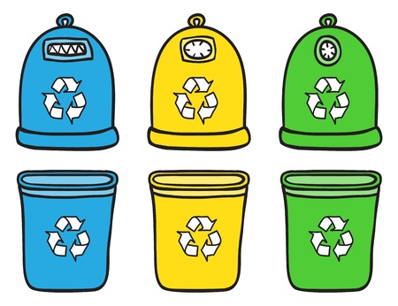 plastic recycling: Set of recycle trash bins - hand drawn illustration