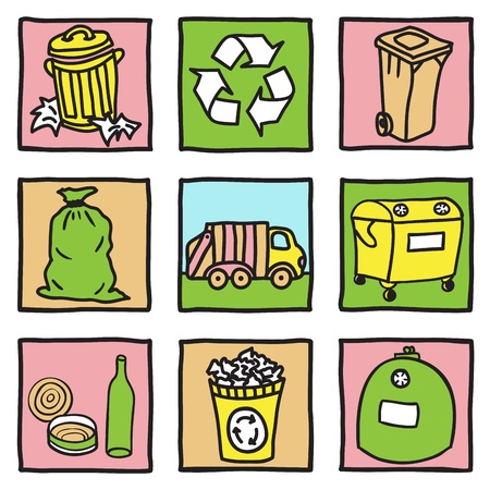 rubbish bin: Set of recycling icons - hand drawn illustration