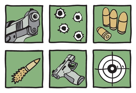 Collection of guns and bullets - hand drawn illustration Vector