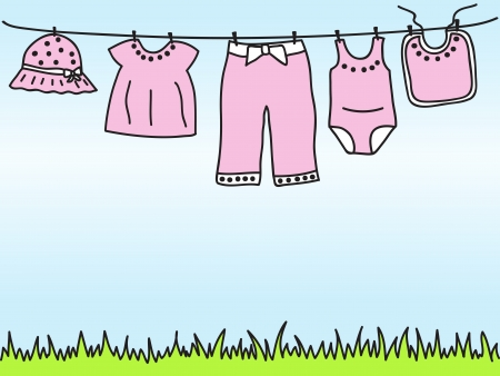 baby clothes: Baby girl clothes on clothesline - hand drawn illustration