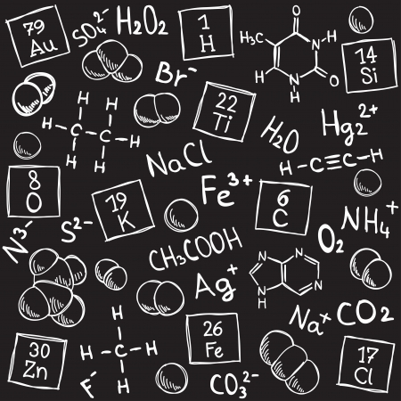 Chemistry background - molecule models and formulas - hand-drawn illustration Vector