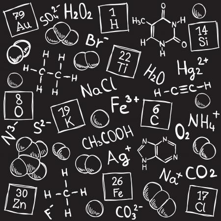 Chemistry background - molecule models and formulas - hand-drawn illustration Ilustracja