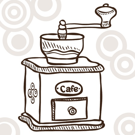Illustration of retro coffee mill - doodle style Vector