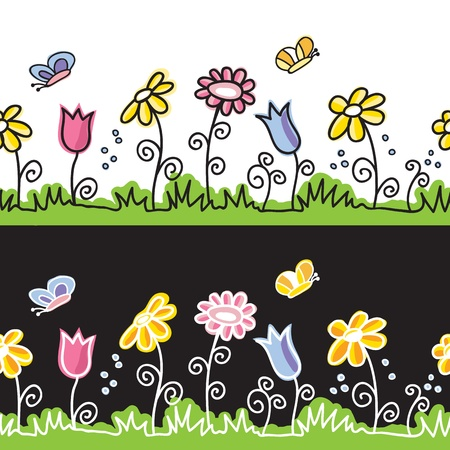 Summer flowers  and butterflies on meadow  - seamless background  Ilustracja