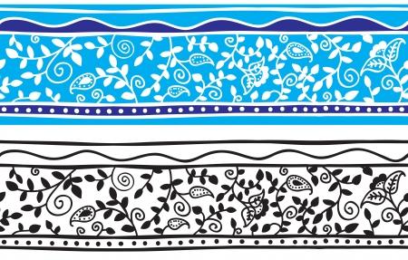 シームレスな花の背景パターン - インド スタイル - ベクトル イラスト