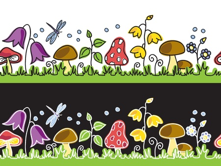 mushroom illustration: Summer flowers  and mushrooms on meadow  - seamless background  Illustration