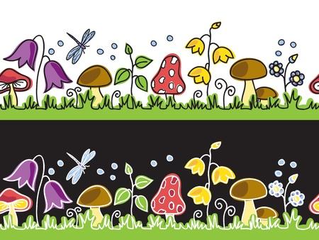 mushroom cartoon: Summer flowers  and mushrooms on meadow  - seamless background  Illustration