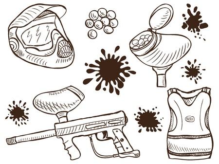 Illustratie van paintball uitrusting en splash - doodle stijl