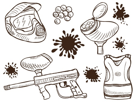 paintball: Illustration of paintball equipment and splash  - doodle style  Illustration