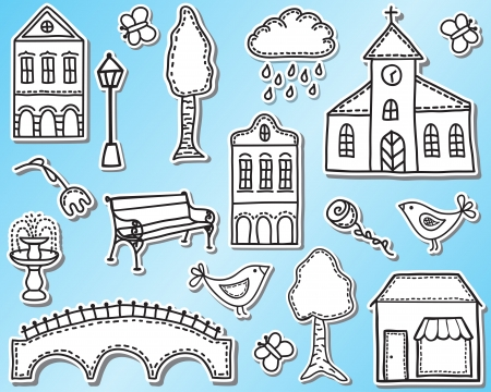 church building: Town or city design elements  - hand drawn style