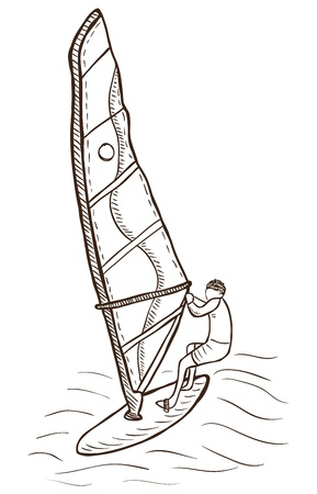 windsurf: Illustration of windsurfer  - vector, doodle style