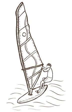 windsurf: Ilustración de windsurf - vector, estilo garabato Vectores
