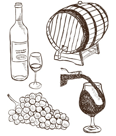 wood creeper: Illustration of wine and grapes collection - doodle style