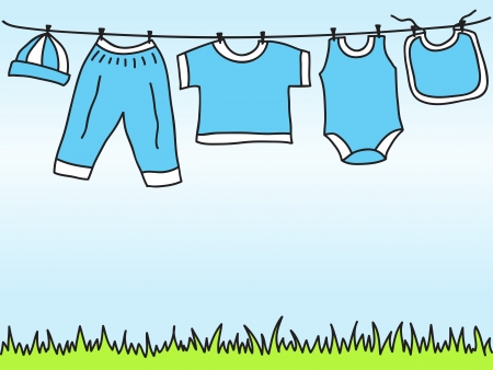baby boy shower: Baby boy clothes on clothesline - hand drawn illustration Illustration