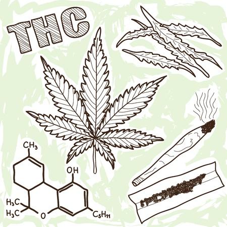 marihuana: Illustratie van verdovende middelen - marihuana en andere elementen Stock Illustratie