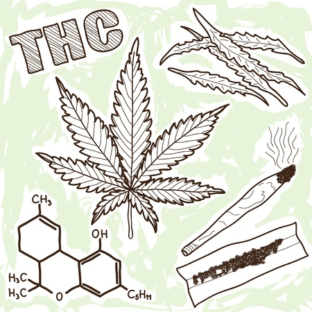 marihuana: Ilustración de narcóticos - Elementos de la marihuana y otras