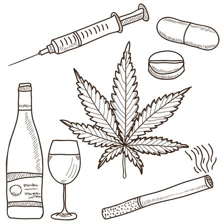 marihuana: Illustratie van verdovende middelen - marihuana, alcohol, nicotine en andere Stock Illustratie