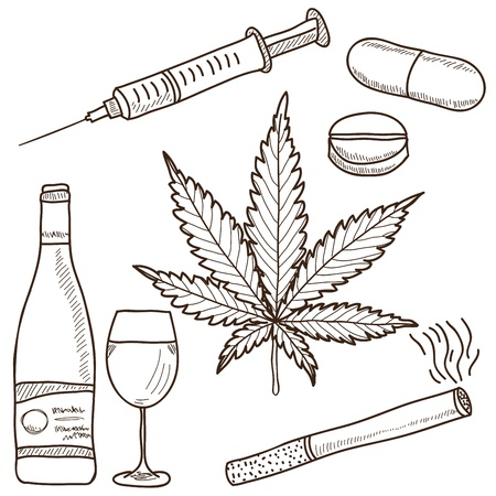 drugs pills: Illustration of narcotics - marijuana, alcohol, nicotine and other