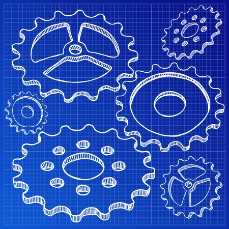 Illustration of gears on blueprint - hand drawn style Vector