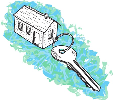 Illustration of house and key - hand drawn style Vector