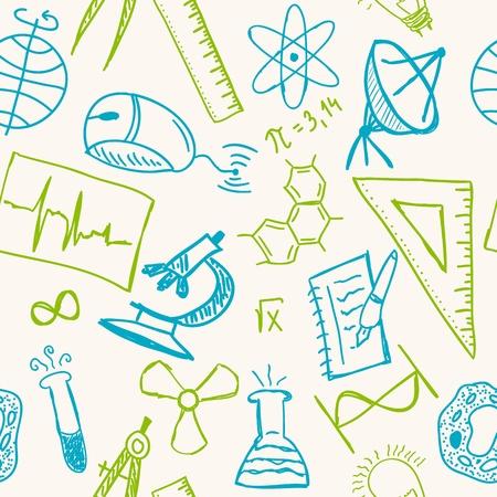 Wetenschap tekeningen op naadloze patroon - wetenschappelijke achtergrond Vector Illustratie