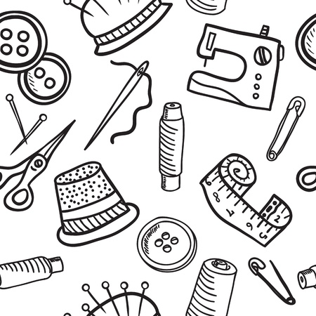 sewing machine: Sewing and accessories seamless pattern - hand drawn illustration