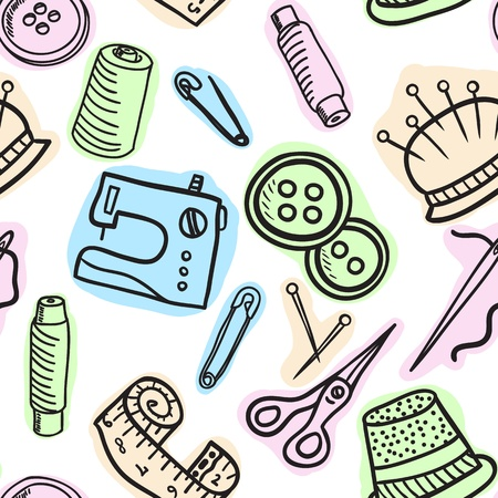 Sewing and accessories seamless pattern - hand drawn illustration Vector