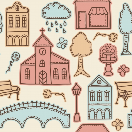 Town or city design elements on seamless pattern background Stock Vector - 15196654